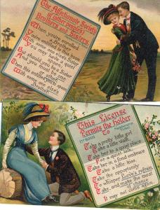 Two Vintage Linen Postcards Lovers Spooning, Antique, Ephemera, Nostalgic