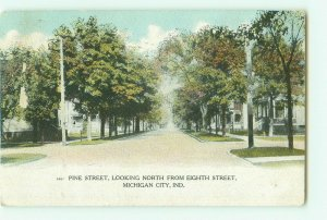 Michigan City, IN Pine St Looking North From 8th St 1908 Postcard Hand-Tinted