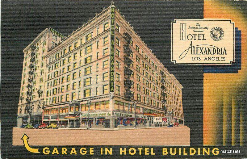 1930s Hotel Alexandria Los Angeles California Night Linen postcard 12083