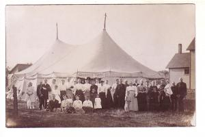 Real Photo. Large Group of People Gathered Outside Gospel Tent, Revival