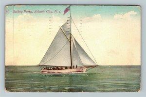 Atlantic City NJ-New Jersey, Sailing Party, Vintage Postcard