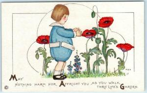 Signed Artist M.E.P. Margaret Evans Price CHILD~ LIFE'S GARDEN Embossed Postcard