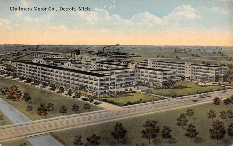 Detroit Michigan Chalmers Motor Co Birdseye View Antique Postcard K34628