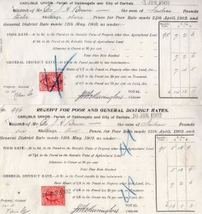 Carlisle Union 2x 1903 1902 Insurance Certificates
