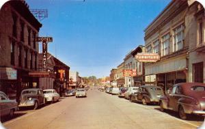 Ironwood Michigan~Suffolk Street~Hotel St James~Furniture~1940-50s Cars~Postcard