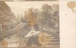 E92/ Salineville Ohio RPPC Postcard Columbiana c1913 Flood Disaster? Railroad 3