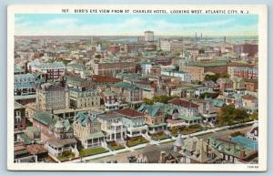 Postcard NJ Atlantic City Birds Eye View from St Charles Hotel c1930s H24