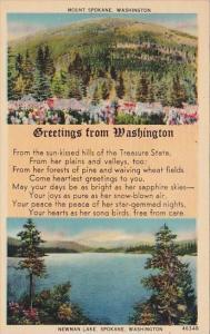 Washington Spokane Greetings From Washington 1942