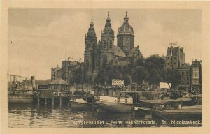 Netherlands Amsterdam Prince Hendrik quai St Nicholas church vintage  Postcard