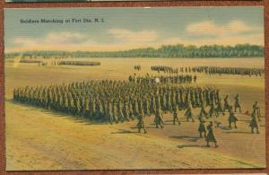Fort Dix New Jersey nj US Army Soldiers Marching linen postcard