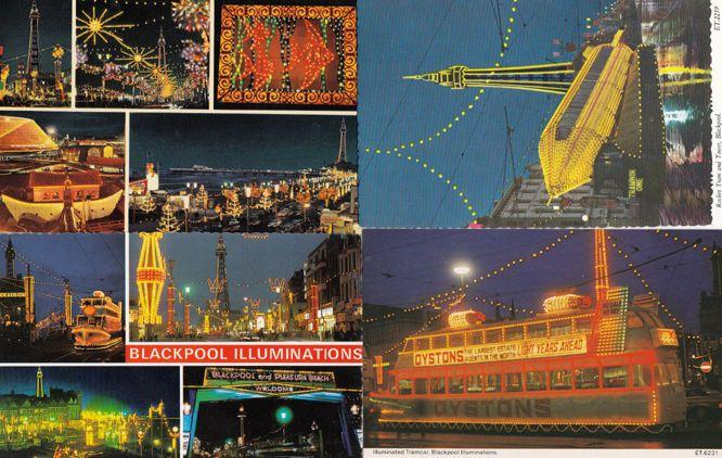 Blackpool Tram Illuminations 4x Postcard s