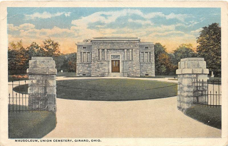 F28/ Girard Ohio Postcard 1920 Mausoleum Union Cemtery