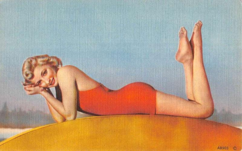 Bathing Beauty Red Suit Laying Linen Antique Postcard K7876452