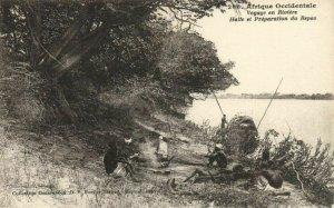 CPA AK Sénégal Afrique 266 Fortier Voyage en Riviére Halte Préparation (67521)
