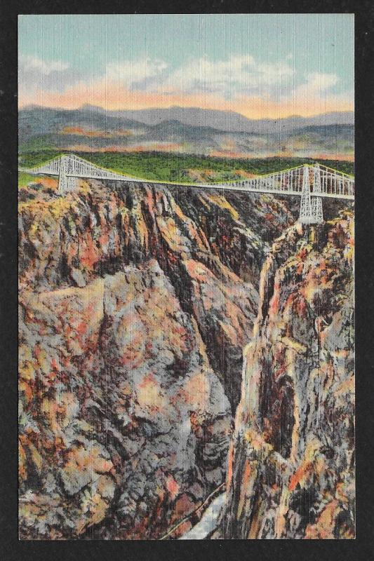 Suspension Bridge Highest Bridge in the World Royal Gorge Colorado Unused c1939