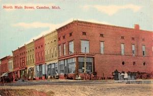 Camden MI Long 100 Block of Main St~Now Angels Helping Hands & Itschners c1910