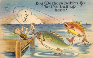 Fishing Postcard Man on the Dock with a Huge Fish on the Line Comic Unused