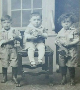 1926 RPPC Postcard Boys Holding American Primitive Wooden Duck Pull Toys