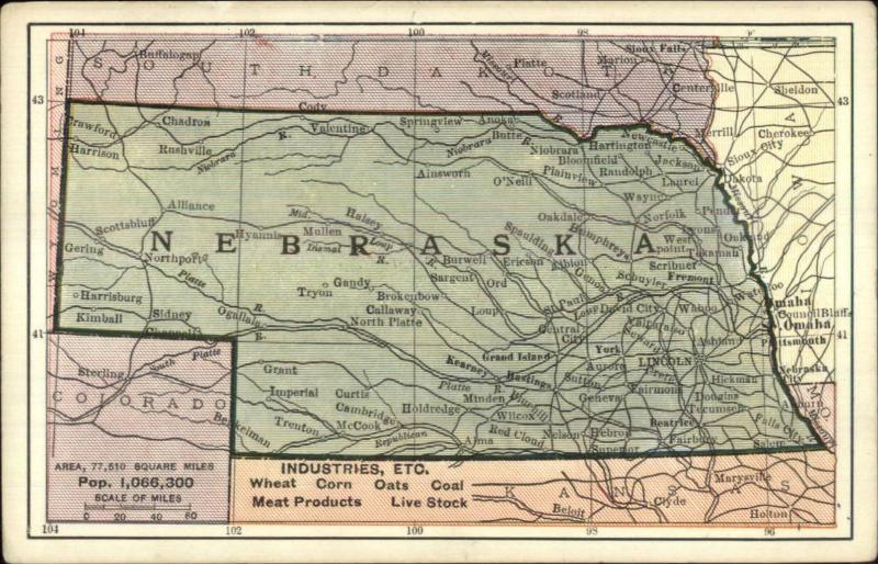 State Road Map c1910 Postcard - NEBRASKA / HipPostcard