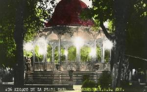 Mexico - Monterrey. Plaza Zaragoza Kiosk    *RPPC  Colorized