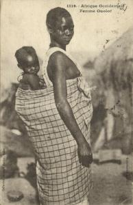 west africa, SENEGAL, Native Woman Child Ouolof Wolof Tribe (1921) Fortier 1119