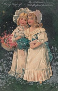 GREETING, PU-1908; Two girls wearing bonnets, Flowers, silver detail, PFB 7046