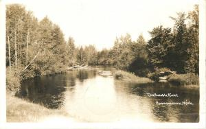 Roscommon Michigan~Ausable River~Sepia Real Photo Postcard 1940