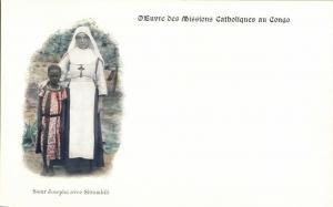 Congo Free State, Sister Josepha with Sittambili (1899) Mission Postcard