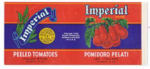 Imperial Italian Tomatoes Pittsburgh PA Vintage Can Label