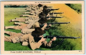 CAMP WOLTERS, Texas TX   Army Soldiers RIFLE RANGE ca 1940s WWII Era Postcard
