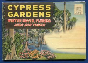 Cypress Gardens Winter Haven Bok Tower Florida souvenir postcard folder