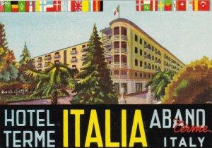 Italy Abano Terme Hotel Italia Vintage Luggage Label sk3316