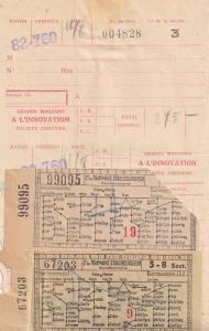 Strasbourg 3x Travel Tram 1950s & Hotel Tickets Receipt