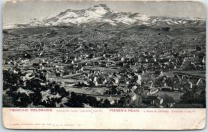 1900s Trinidad, Colorado Postcard Bird's-Eye Panorama Town View w/ Fisher's Peak