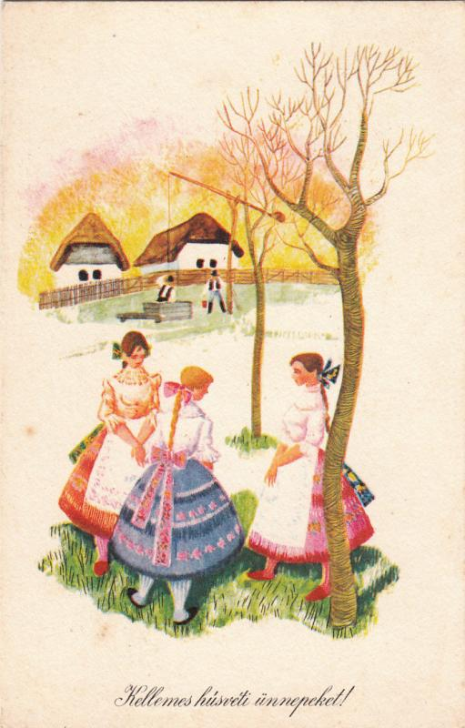 Hungarian hungary easter greetings folk tradition costumes fantasy hungarian hungary easter greetings folk tradition costumes fantasy postcard m4hsunfo