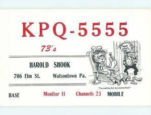 comic - QSL CB HAM RADIO CARD Watsontown Pennsylvania PA t9727