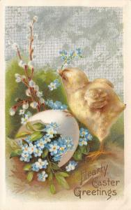 Easter~Chick on Forget-Me-Nots Full Egg~Pussy Willows~Silver Back Emboss~Winsch