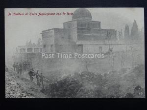 Vesuvius Eruzione del Vesuvio TOWER CEMETERY & LAVA FLOW c1906 RARE Postcard