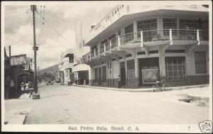 honduras SAN PEDRO SULA Hotel Colombia 1952 RPPC Stamps