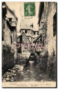 Old Postcard Caudebec-en-Caux Old houses on the river St. Gertrude