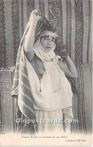 Femme Kabyle se couvrant de son Haick Arab Nude Unused