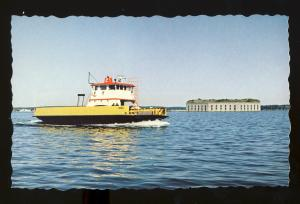 Portland, Maine/ME Postcard, Casco Bay Car Ferry Rebel Passing Fort Gorges