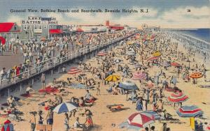General View, Beach & Boardwalk, Seaside Heights, N.J., Early Postcard, Unused