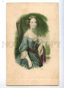 186961 Lady Girl w/ VIOLETS Vintage ENGRAVING postcard tinted