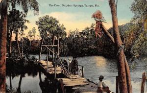 Tampa Florida~Sulphur Springs Dam~Folks on Dock Bridge~1910 Postcard