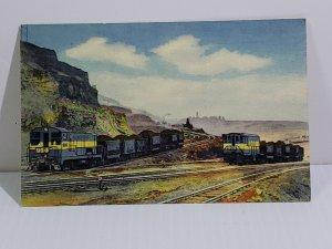 Locomotive Train Vintage Postcard Hull-Rust Mine Hibbing Minnesota diesel & ore