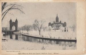 HARTFORD, Connecticut, 1901-07 ; Memorial Arch and Capitol in Winter