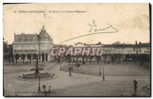 Old Postcard Bank Vitry le Francois Place and Caisse d & # 39Epargne