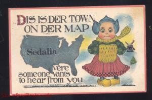 SEDALIA MISSOURI U.S. MAP DUTCH CHILDREN COLE CAMP MO. VINTAGE POSTCARD OLD