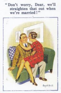 Man With Crooked Private Parts Gonads Donald McGill Banned Comic Humour Postcard